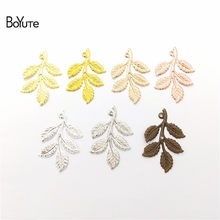 BoYuTe (50 Pieces/Lot) 7 Colors Metal Brass 32*50MM Branch Leaf Charms Pendant DIY Hand Made Jewelry Accessories Wholesale