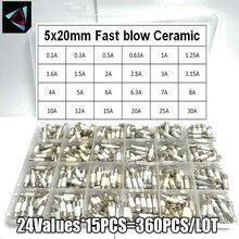 360Pcs/Box 24Values  5*20mm Fast blow Ceramic Fuse 250V 0.1A 0.25A 0.5A 1A 1.5A 2A 2.5A 3A 3.15A 4A 5A 6A 6.3A 8A 10A 15A 16A