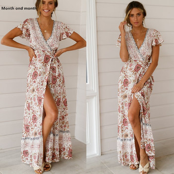 Floral Print Long Dress Boho Beach Dresses Women Summer   Vestidos Sexy V Neck Side Split Vintage Casual  Elegant Party Dress cuerly ruffle floral print button short dress women summer elegant casual loose dress female sexy daily beach dress vestidos l5