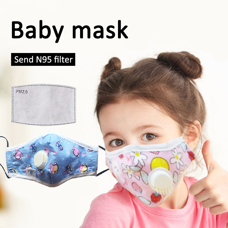 Baby Child Face Mask N95 Anti-virus Mask With Breath Valve Anti-fog Haze PM2.5 Ffp3 Mask N95 Face Mask Dust Mask Respirator