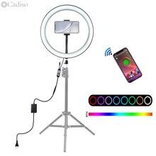 Cadiso 사진 Dimmable RGB LED Selfie 스튜디오 사진 라이트 링 램프 전화 메이크업 사진 유튜브 비디오