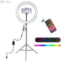 Lámpara de anillo de luz de foto de estudio de Selfie LED RGB regulable de fotografía Cadiso para maquillaje de teléfono para foto y Video de YouTube