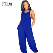 FUDA Casual Fashion Bow Jumpsuits Sexy Hollow Out Sleeveless Summer Loose Playsuits Women Club Party Bodysuits Large Size 3XL