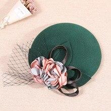 ¡Novedad de 2019! Sombrero de novia con velo de gasa elegante Vintage glamuroso de Inglaterra, sombreros de capilla de fiesta de boda