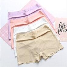 Roupa interior sem costura algodão virilha boxer antibacteriano calças de segurança feminina fina primavera e verão