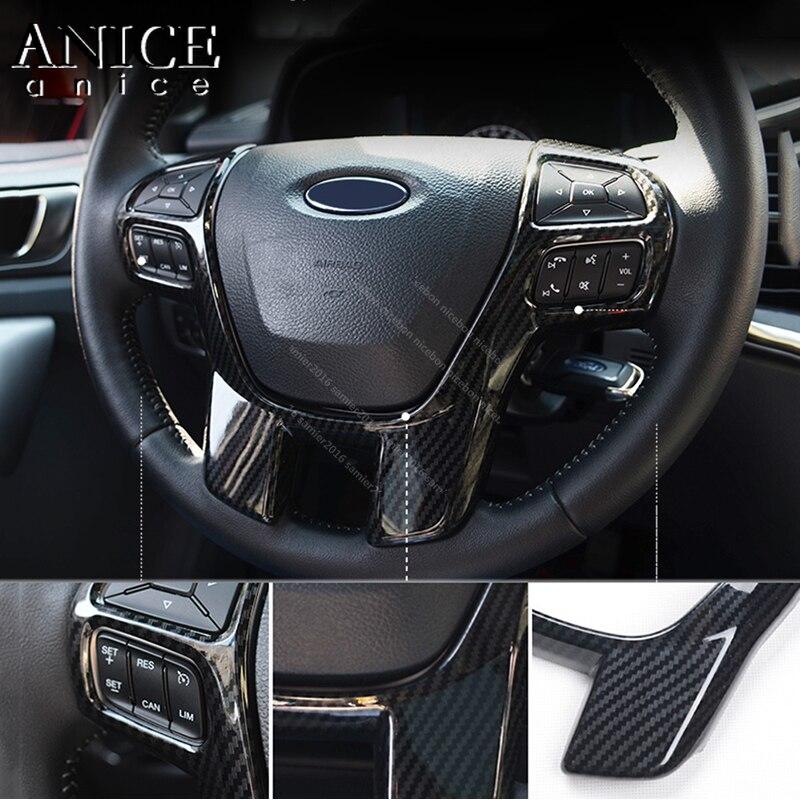 lowest price Carbon fiber color Steering Wheel Frame Decorator Cover for Ford Ranger Everest Endeavour 2015 2016 2017 2018 2019 2020