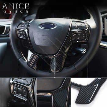 Carbon fiber color Steering Wheel Frame Decorator Cover for Ford Ranger Everest Endeavour 2015 2016 2017 2018 2019 2020