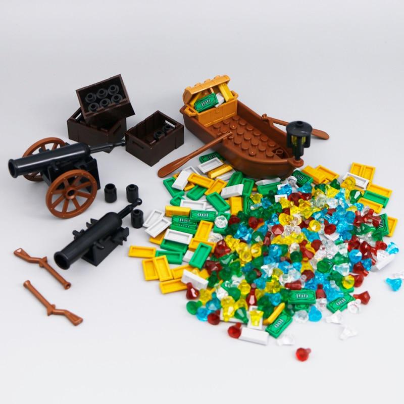 City Building Blocks Treasure Gold Diamond Jewel Gem Chest Pirate Boat Cannon Ship Mini Bricks Figure Toys Compatible With Lego