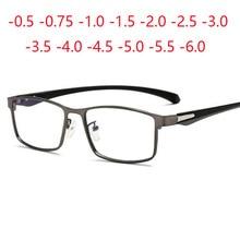 Gafas graduadas cuadradas para miopía, marco de Metal completo, TR90, gafas ultralivianas 0 2013 2016 0,5 0,75 1,0 a 2,0