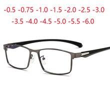 Kwadratowe wykończone okulary dla osób z krótkowzrocznością pełna metalowa rama TR90 ultralekkie okulary 0  0.5  0.75  1.0  2.0  2.5  3.0 do 6.0