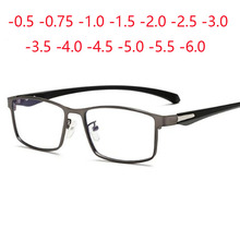 Square Finished Myopia Glasses Full Metal Frame TR90 ultralight Spectacles 0  0.5  0.75  1.0  2.0  2.5  3.0 To  6.0
