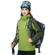Подлинная куртка-дождевик для улицы, Мужская Ветроустойчивая водонепроницаемая куртка-дождевик «Три в одном», женский лыжный костюм из плотного флиса, плюс