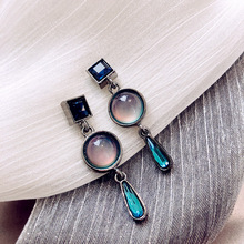 charm Luxury Crystal Baroque Advanced Simple drop earrings  bule rhinestone chandelier stone
