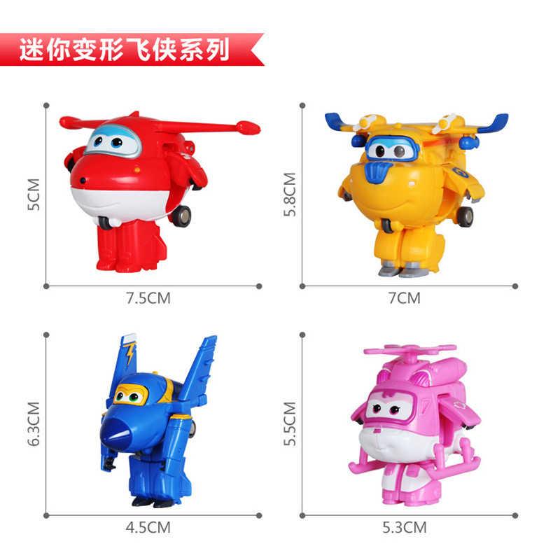 19 estilo Mini transforman ABS Super Wing Transformer Robot avión acción muñeca superalas niños juguetes que se transforman regalos de cumpleaños