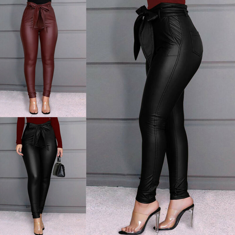 2020 Newest Women Stretch Skinny Pants PU Leather Trousers Lady Girls High Waist Leggings Long Pants Plus Size Black 2 Colors