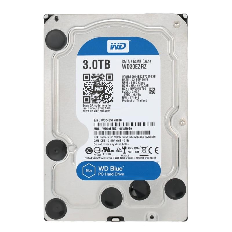 Disque dur interne Western Digital WD Blue 3 to HDD 3.5 ''SATA 6 Gb/s 64 mo Cache HDD pour ordinateur de bureau WD30EZRZ Disco Duro