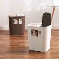 Imprensa-tipo casa classificação lata de lixo 18l japonês-estilo cobertura de proteção ambiental plástico lata de lixo wy117825