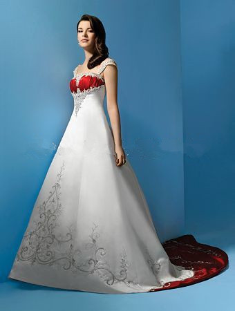 Hot Sale A Line Court Train Sleeveless Natural Satin White And Red Wedding Dresses Cap-sleeves Embroidery Bridal Dress