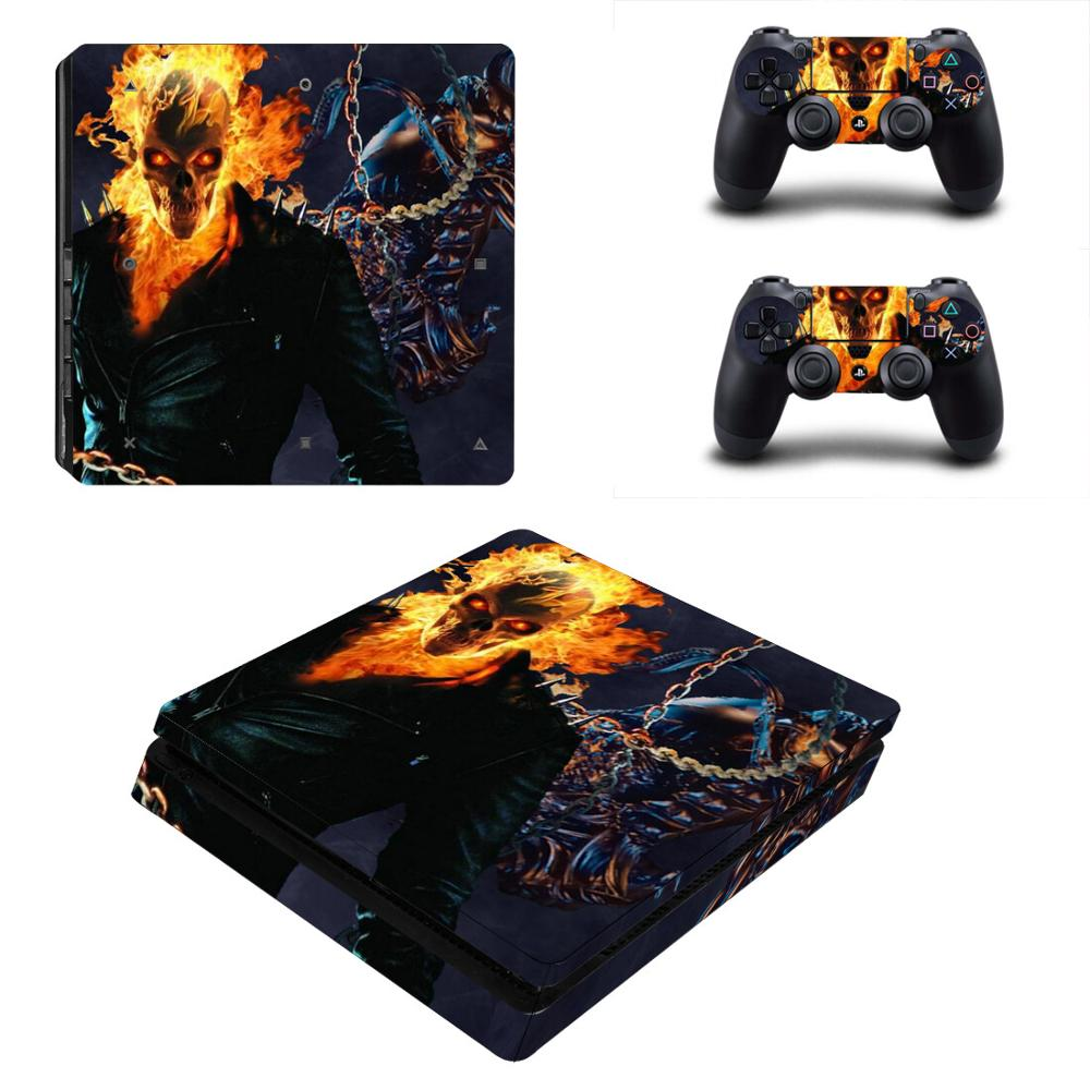 Ghost Rider PS4 Slim Stickers PS 4 Play station 4 Slim Skin Sticker Pegatinas For PlayStation 4 Slim console and controller image