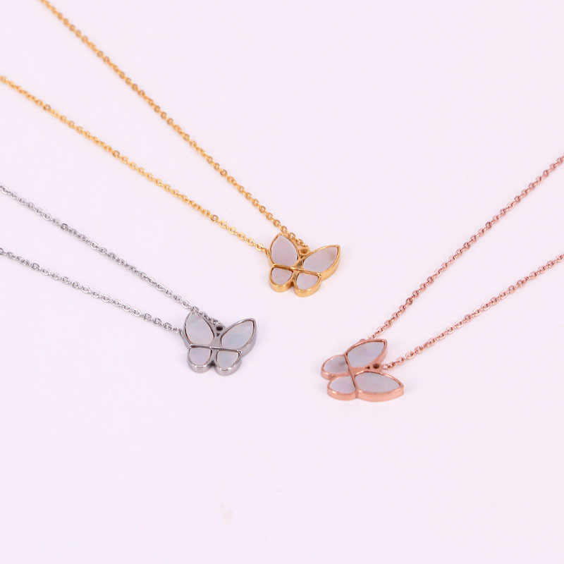 Temperament Mother-of-pearl Shell Butterfly Necklace Rose Gold Color Stainless Steel Jewelry