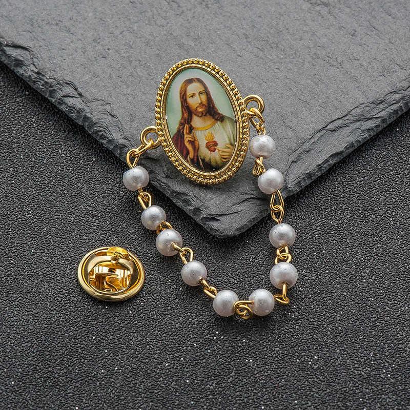 5 ピース/ロット新パールビーズペンダントブローチ女性のためのイエスクリスチャン聖母マリアクロスロングラペルピン broches ジュエリー確率的