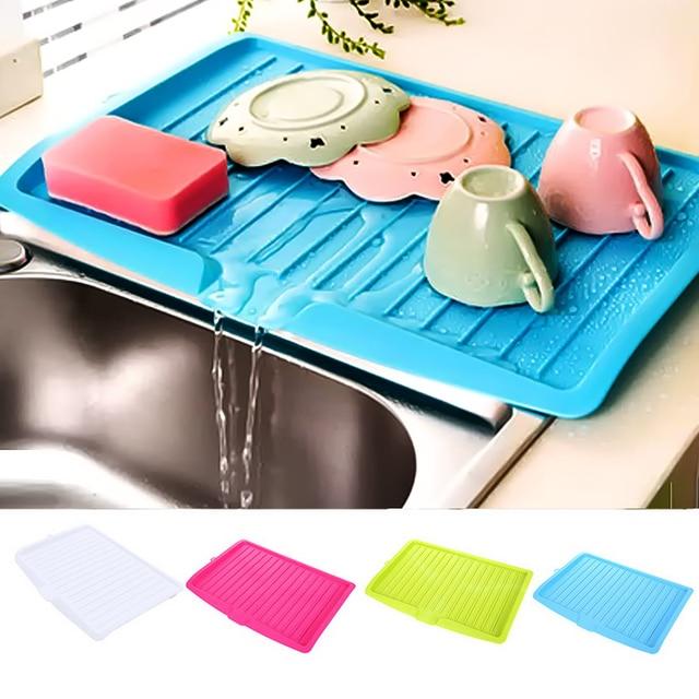 Drain Rack Plastic Dish Drainer Tray Sink Dryer Organizer Silicone Drying Mat Worktop Organizer For Kitchen Accessories