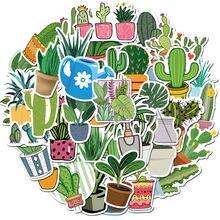 45 шт водонепроницаемых наклеек из ПВХ с зелеными растениями