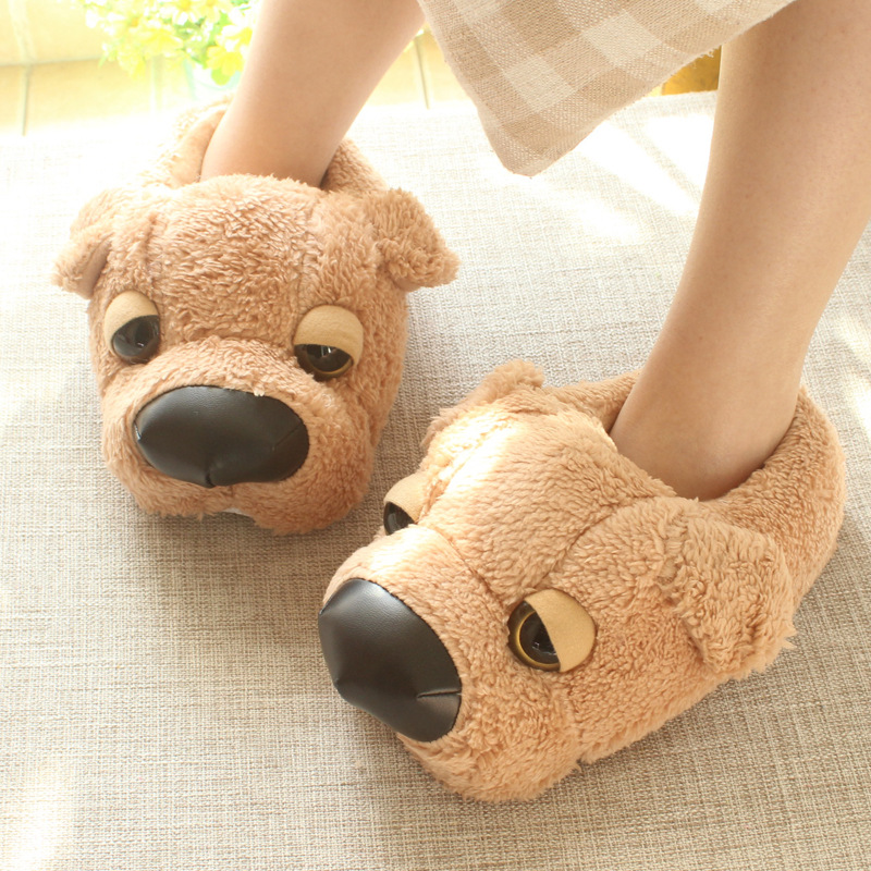 Maggie's Walker Winter Warm Man Women Home Slippers Animal Dog Paw Plush Slippers Female Thermal Soft Cotton Indoor House Shoes image