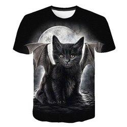 Novo preto asas gato t camisa feminina casual engraçado dos desenhos animados impressão tshirt harajuku bonito moda camiseta verão manga curta topo t