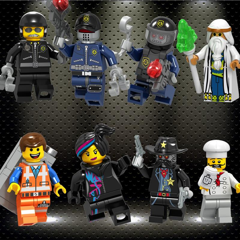 Movie Figure Gured Bad Cop Emmet Wyldstyle Sheriff Robo SWAT Vitruvius Fireman Building Blocks Model Bricks Kid Toy Ed