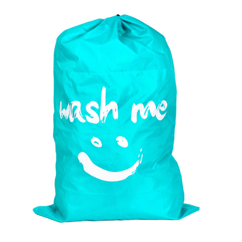 Nylon Laundry Bag Foldable Storage Pouch Dorms Bath Basket Drawstring Cleaning Dirty Clothes Home Large Capacity Hamper Portable|Laundry Bags| |  - title=