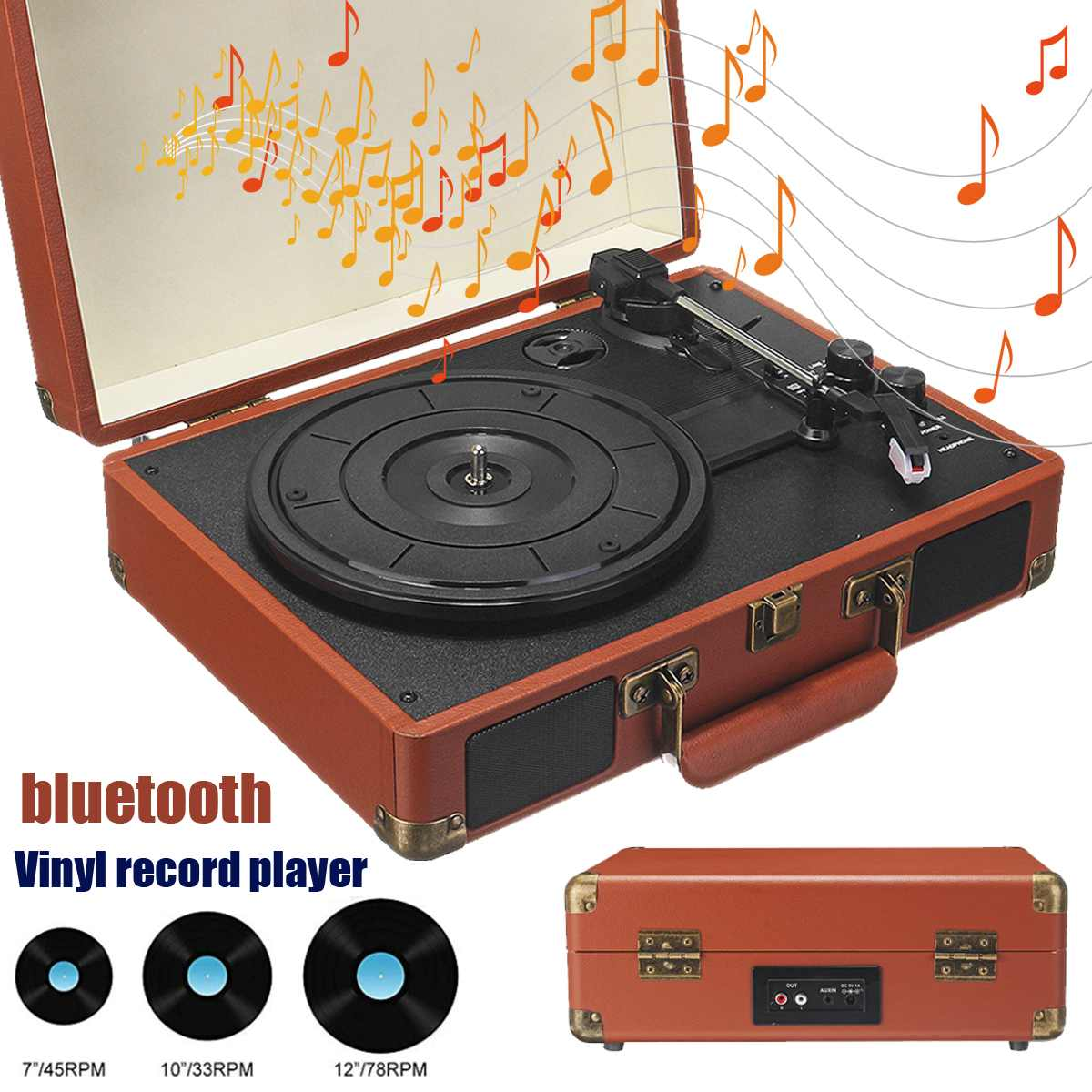Wireless bluetooth ortable Suitcase Turntable Vinyl Record Vintage 33/45/78 RPM Brown  Phone Player Aux in Line out 100 240V|Portable Speakers| |  - title=