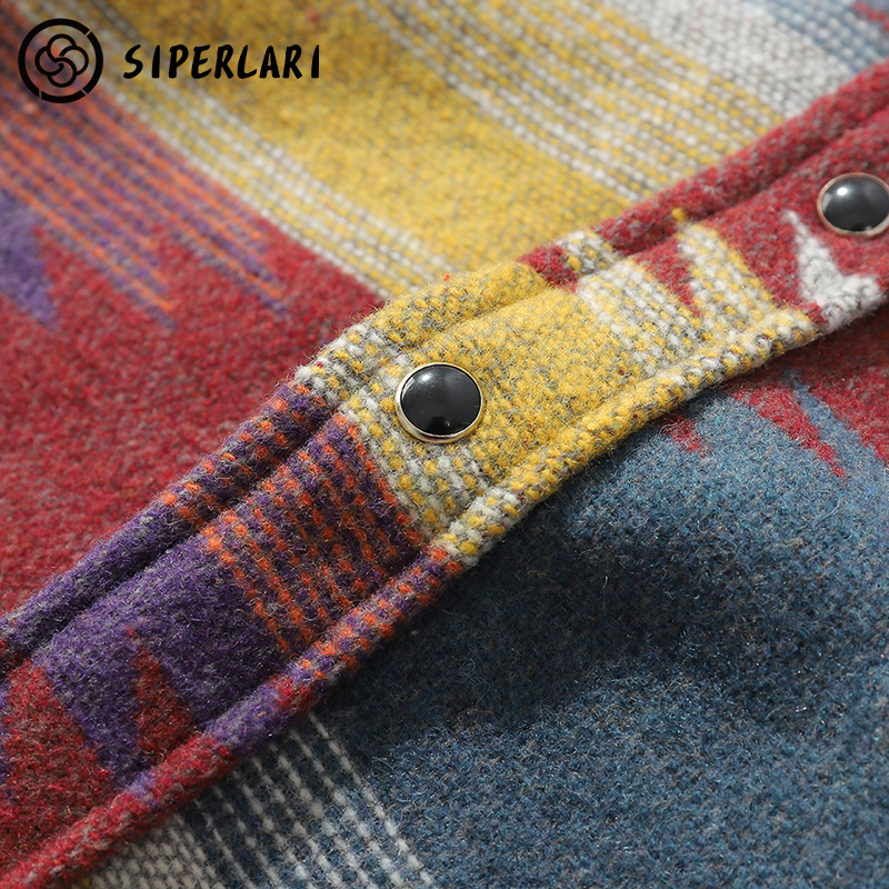 SIPERLARI Hip Hop Tie Dye Snap Button Long Sleeve Shirts Men Fashion Casual Streetwear Dress Shirt Coats Male Hipster Shirts Top