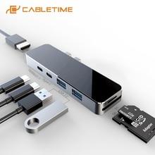 CABLETIME USB C HUB Type-C to HDMI 4K SD/TF Card Reader USB3.0 Thunderbolt 3 Port Multi Hub for Macbook Air Multi Devices C297 стоимость