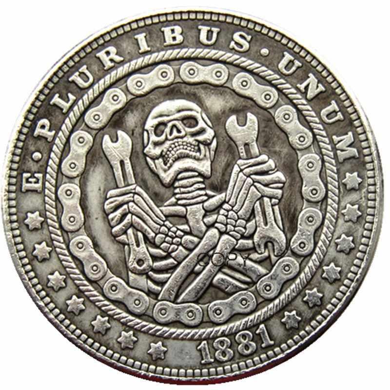 Hb (117) Ons Hobo 1921 Morgan Dollar Skull Zombie Skeleton Verzilverd Kopie Munten