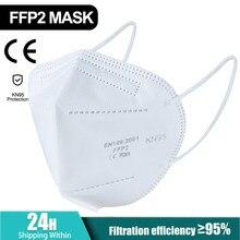 50-5 pces 5 camadas ffp2 máscara kn95 máscara facial boca maske máscaras de segurança macio 95% filtração pm2.5 ffp2mask anit poeira certificação do ce