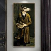 Винтажные постеры и принты с хвостами коз животные в костюме
