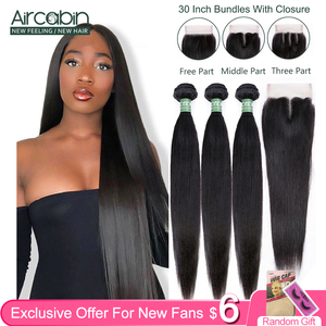 Image 1 - Brazilian Straight Bundles With Closure Aircabin 100% Remy Human Hair Weave Bundles Extensions Swiss 4x4 Lace Frontal Deep Part