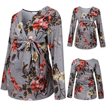 2021 new Fashion Women Maternity Pregnancy Shirt Ruched Floral Flower Tops Long Sleeve Maternity Clothes Blouse Enceinte