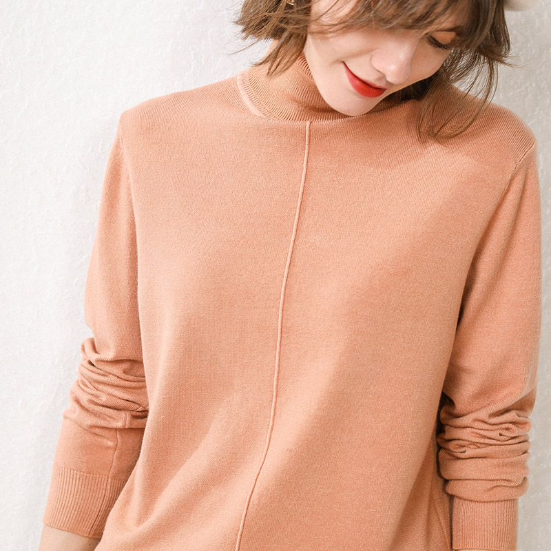 Smpevrg Knitted Sweater Female Pullovers Long Sleeve High Neck Warm Pullover Women Sweaters Knit Tops Jumper Pull Femme Clothing