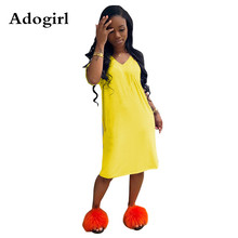Adogirl 2019 Women V-neck Short Sleeve Knee Length A-line T-shirt Dress Fashion Active Casual Loose Dresses 4 Color Outfits