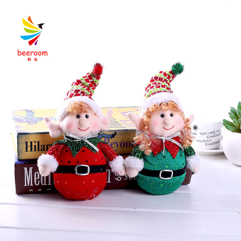 Christmas decoration DIY red and green elf doll Christmas tree decoration supplies cute doll window decoration <font><b>12X20</b></font> CM image