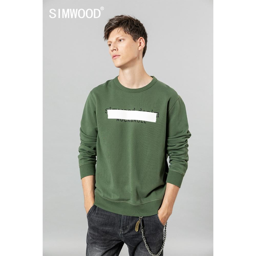 SIMWOOD 2020 Spring New Hoodies Men Letter Print O-neck Sweatshirts Jogger Plus Size Track Suits 100% Cotton Hoodie SI980558