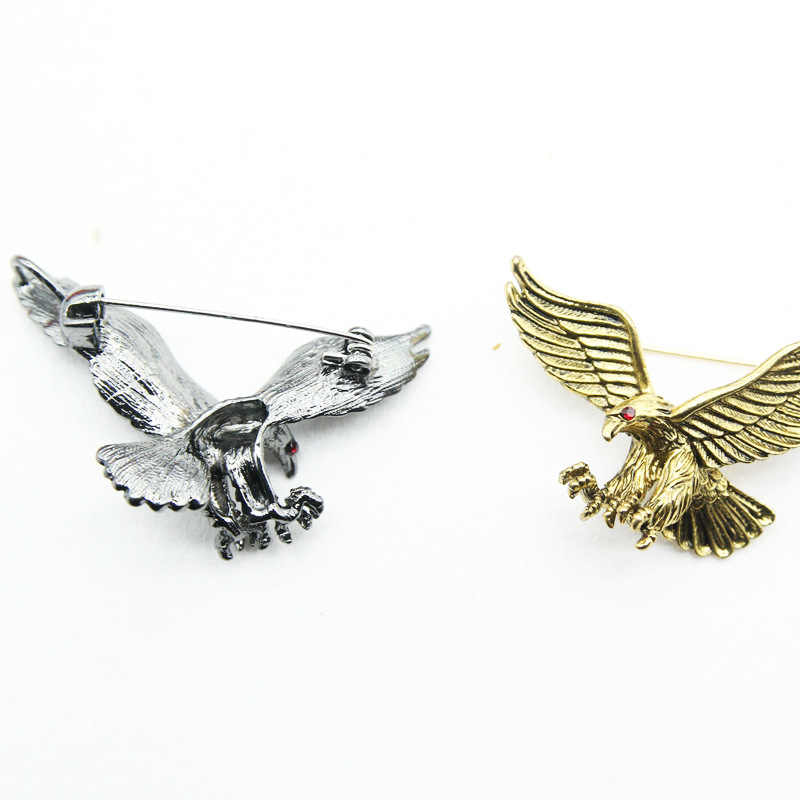 3 Warna Antik Perak Perhiasan Elang Terbang Bros Pria Anak Laki-laki Setelan Syal Aksesoris Burung Pin Ulang Tahun Pesta Hadiah