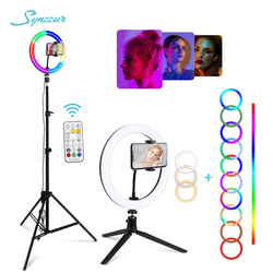 RGB Led Ring Light With Stand colorful Lighting 29 Colorlight,3 Normal Modes Dimmable Selfie 10inch Ring Light For Youtube Video