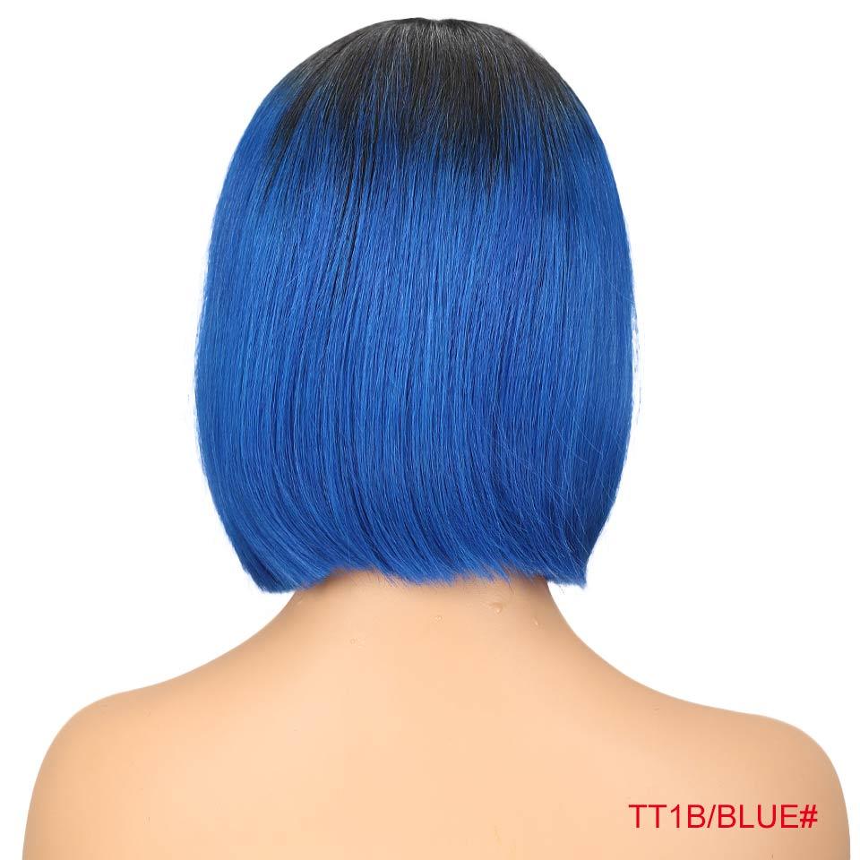 """Rebecca bob парики на кружеве для черных женщин перуанские короткие парики из человеческих волос Омбре человеческие волосы парик Средняя часть 1"""" - Цвет волос: T1B Blue"""