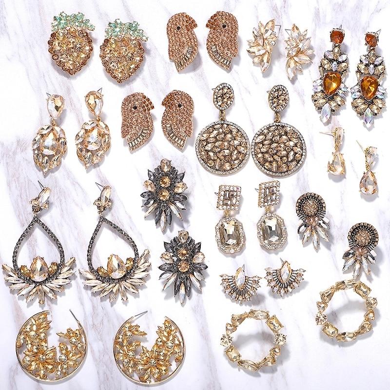 Dvacaman Champagne Crystal Dangle Earrings Long Drop Earrings Wedding Women Hanging Earrings Party Statement Jewelry Wholesale