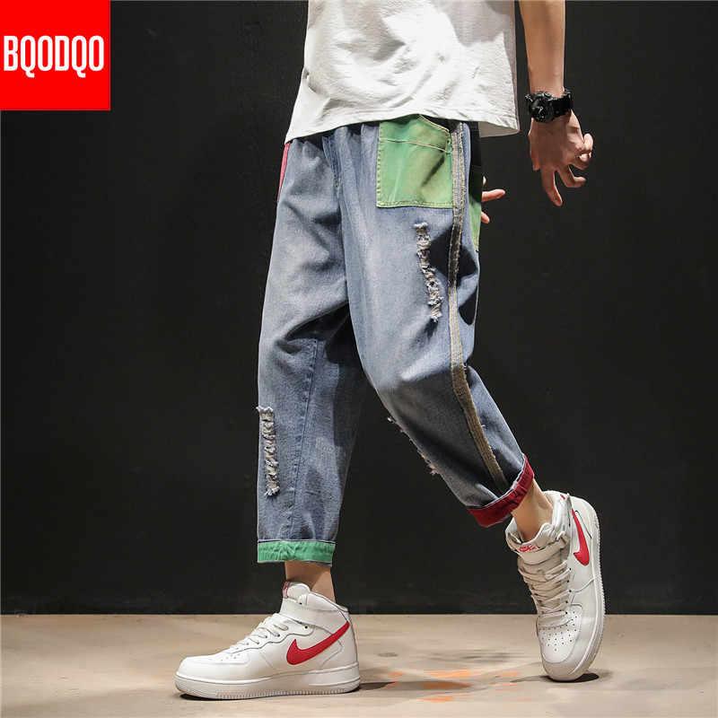 BQODQO Baggy Herbst Ripped Biker Jeans Für Männer Blau Denim Streetwear Casual Jogger Männliche Hip-Hop Große Größen Gerade Capri hosen