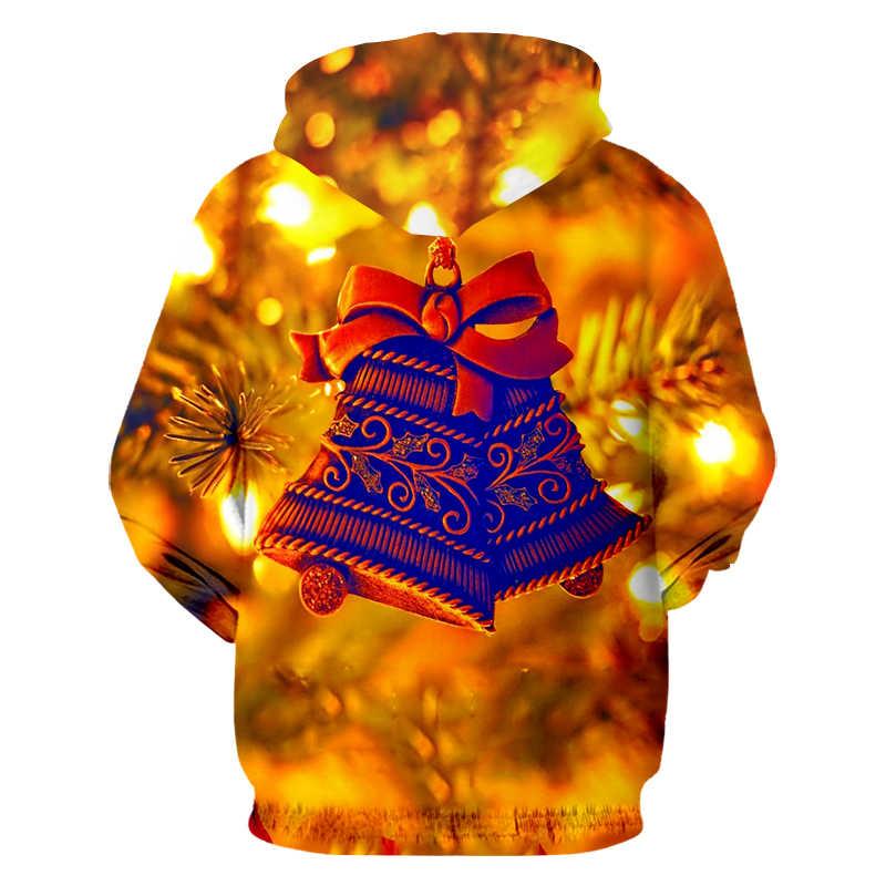 UJWI мужские модные популярные 3D толстовки с длинным рукавом и принтом колокольчика, Рождественские толстовки с капюшоном, топы и блузки унисекс, оптовая продажа