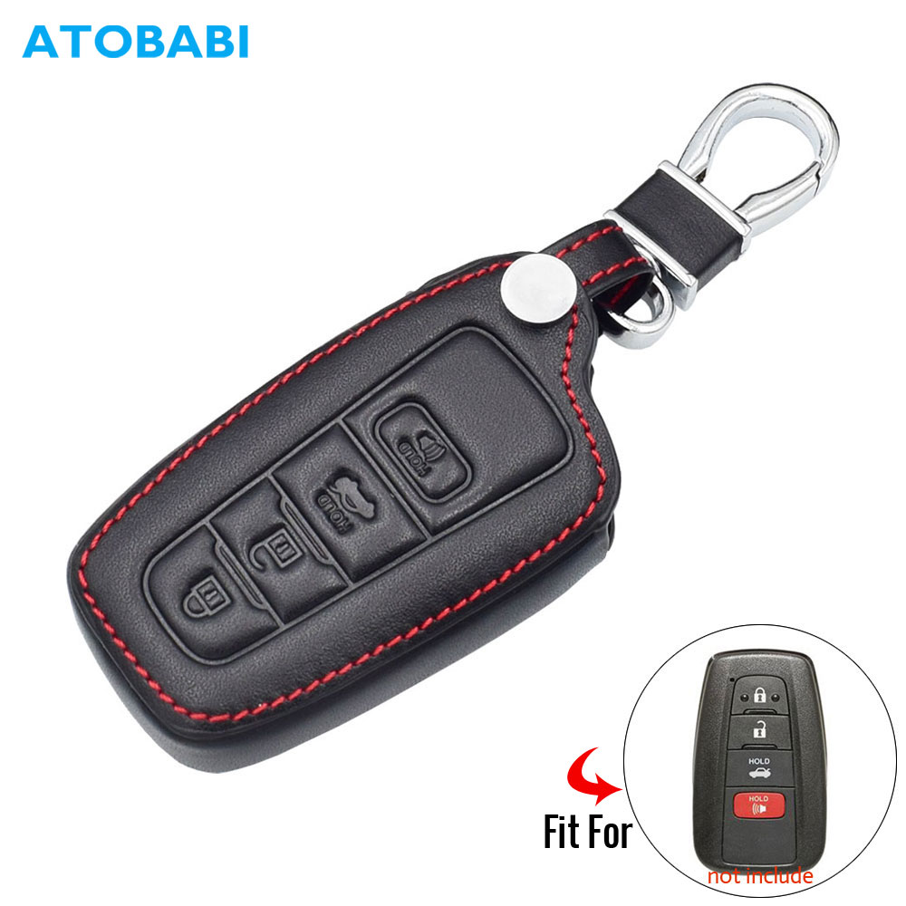 4 Buttons Leather Car Key Case For <font><b>Toyota</b></font> <font><b>Prado</b></font> CHR C-HR Camry <font><b>2019</b></font> Smart Keyless Remote Fob Cover <font><b>Accessories</b></font> Auto Keychain Bag image